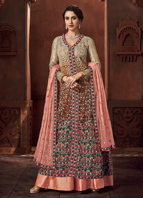 Indian Clothes - Peach Embroidered Lehenga Style Anarkali Suit