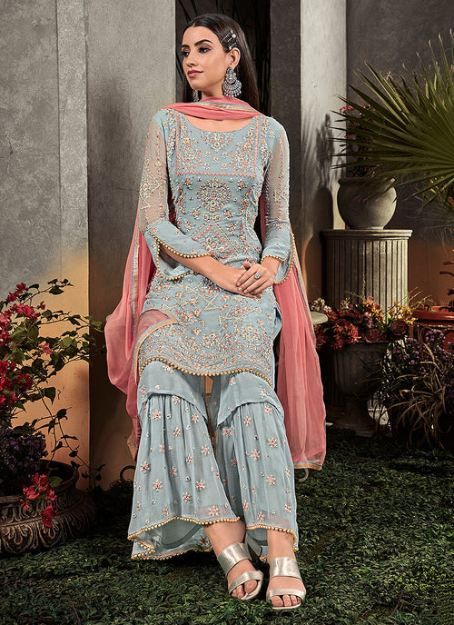 Blue And Peach Floral Embroidered Palazzo Suit