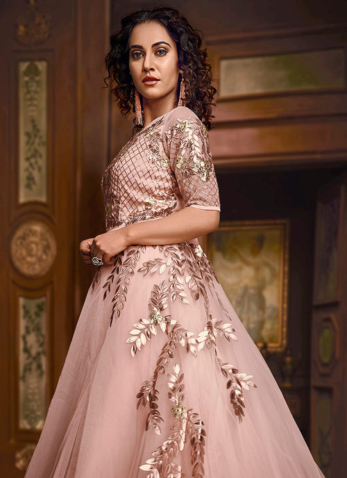 Baby Pink Embroidered Layered Indo Western Gown, Salwar Kameez