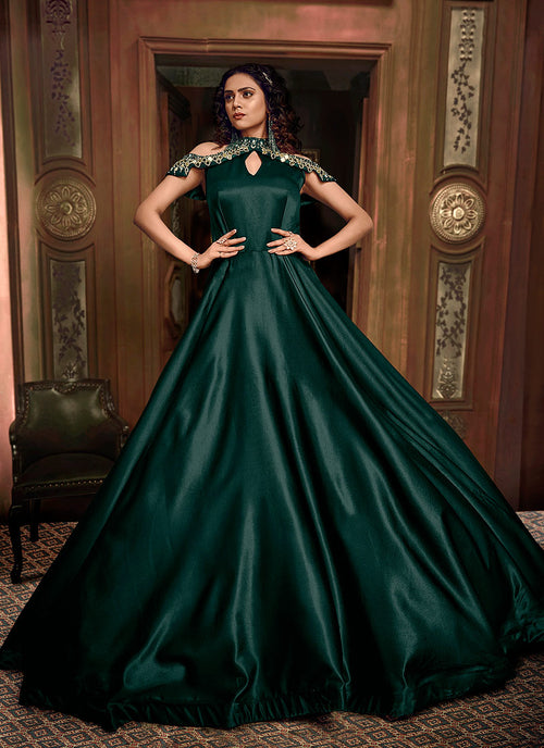 Indian Clothes - Green Embroidered Layered Indo Western Gown