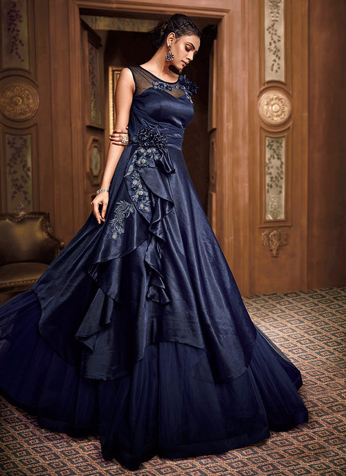 Navy Blue Floral Embroidered Layered Indo Western Gown, Salwar Kameez