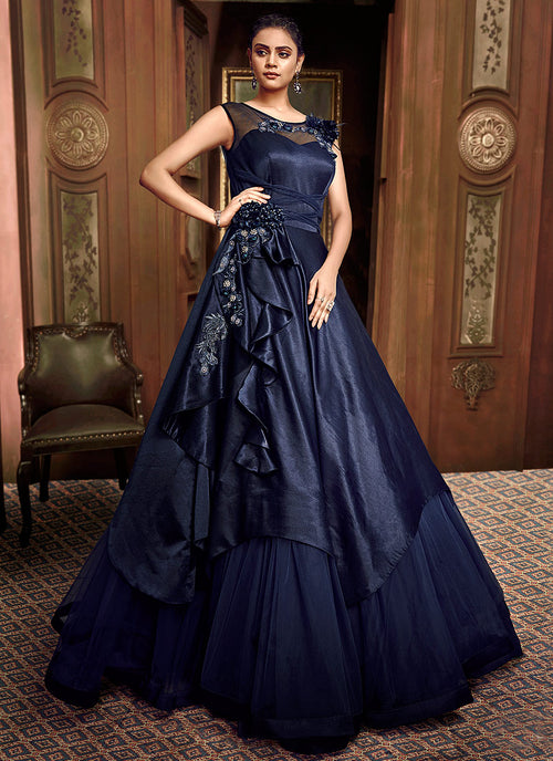 Indian Clothes - Navy Blue Floral Embroidered Layered Indo Western Gown