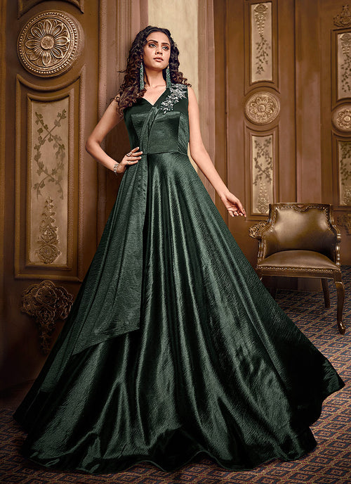 Indian Clothes - Dark Green Floral Embroidered Layered Indo Western Gown