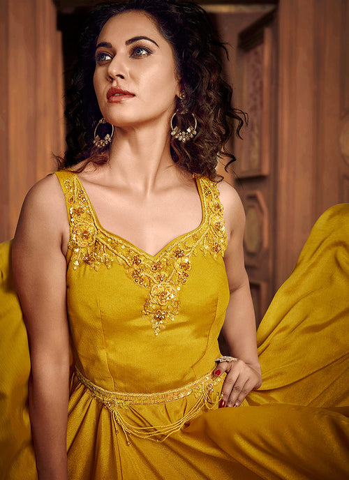 Yellow Floral Embroidered Layered Indo Western Gown, Salwar Kameez