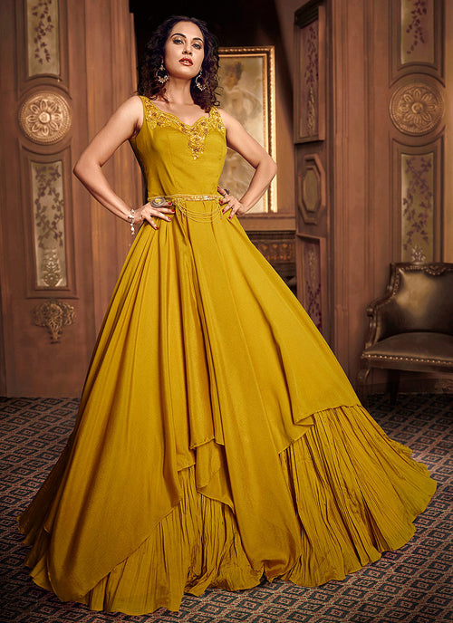 Indian Clothes - Yellow Floral Embroidered Layered Indo Western Gown