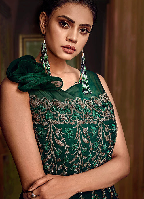 Deep Green Embroidered Layered Indo Western Gown, Salwar Kameez