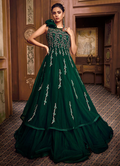 Indian Clothes - Deep Green Embroidered Layered Indo Western Gown