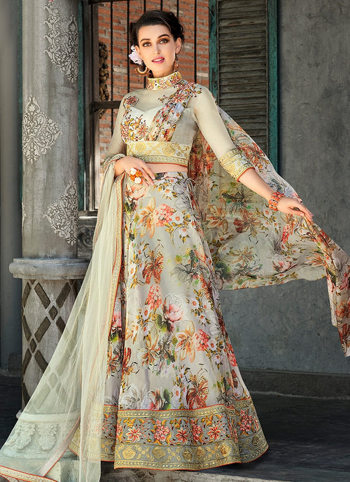 Teal Green Floral Embroidered Lehenga Choli Suit