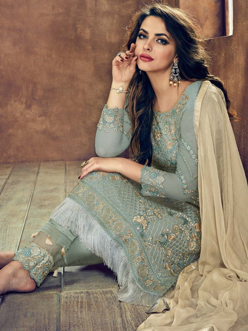 Teal And Beige Minimalist Embroidered Pant Suit
