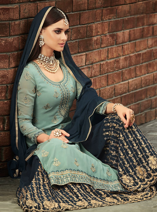 Teal And Blue Traditional Embroidered Palazzo Suit