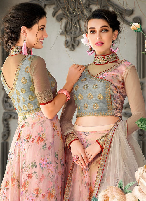 Teal And Pink Floral Embroidered Lehenga Choli Suit