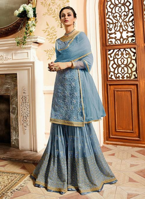 Teal Blue With Golden Touch Embroidered Gharara Suit