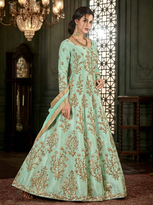 Teal Ethnic Bunch Embroidered Flared Anarkali Suit