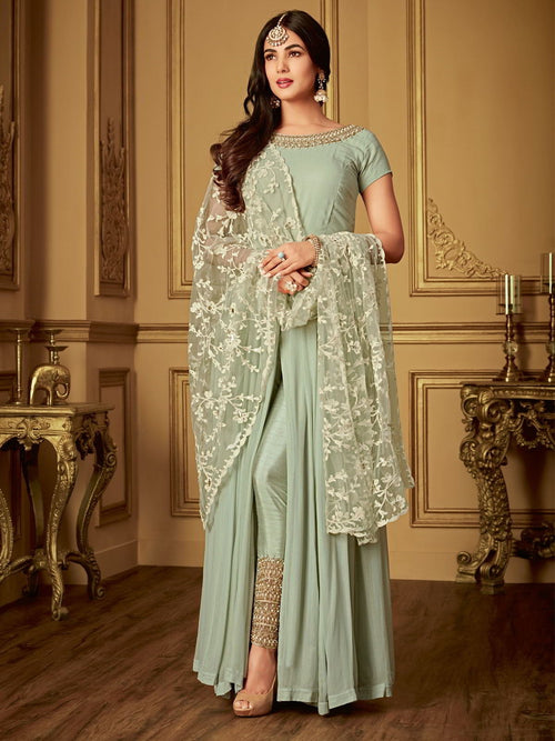 Teal Green Ethnic Embroidered Slit Style Anarkali Pant Suit