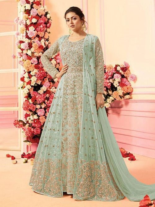 Teal With Traditional Embroidered Detail Designer Kalidar Anarkali Suit