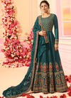 Turquoise Blue With Traditional Embroidered Detail Designer Kalidar Anarkali Suit