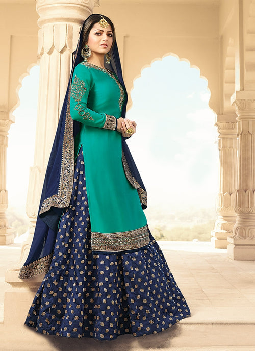 Turquoise And Blue Embroidered Lehenga Kurti Set