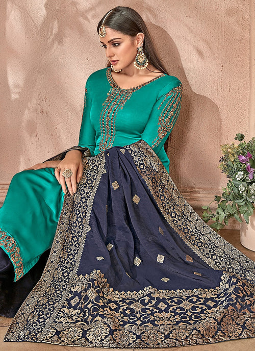 Turquoise And Navy Combination Embroidered Palazzo Suit