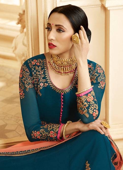 Turquoise And Orange Ethnic Embroidered Flared Anarkali Suit
