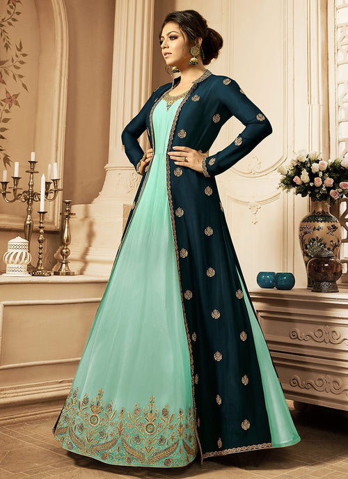 Turquoise And Sea Blue Embroidered Jacket Anarkali Suit