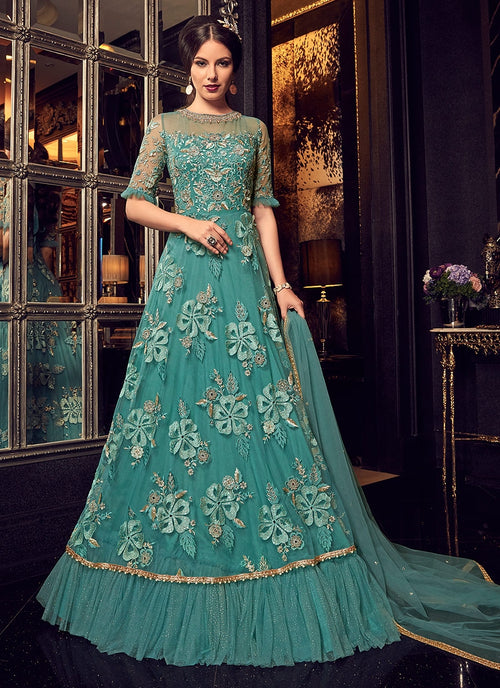 Turquoise Blue Bunch Embroidered Frilled Anarkali Suit