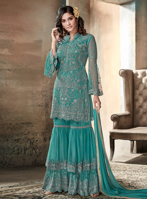 Turquoise Blue Embroidered Layered Style Gharara Suit
