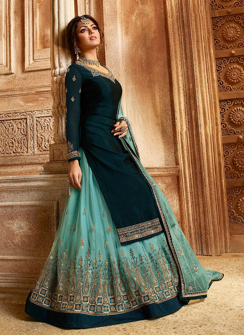 Turquoise Blue Two Tone Dual Bottom Lehenga/Pant Kurti Set