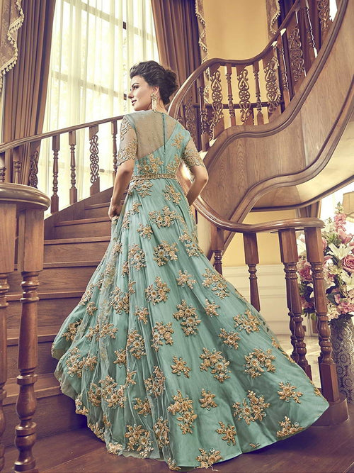 Turquoise Floral Embroidered Designer Bridal Anarkali Suit