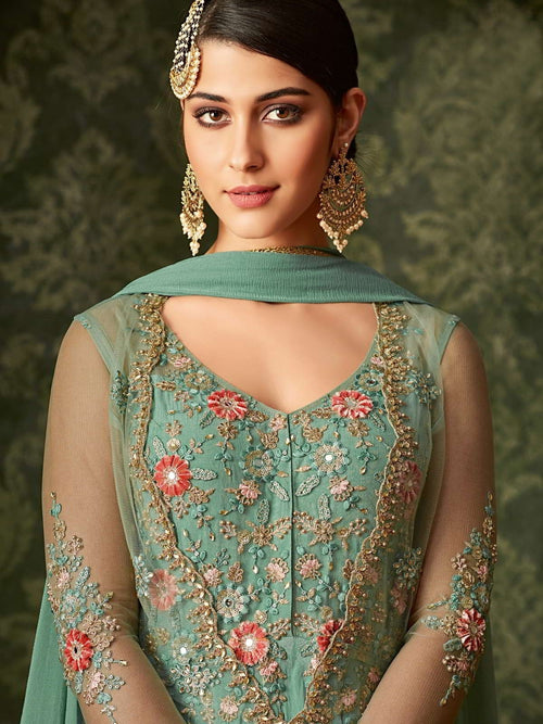 Turquoise Front Slit Embroidered Anarkali Pant Suit