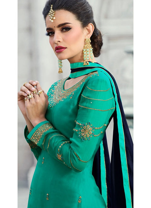 Turquoise Embroidered Georgette Palazzo Suit