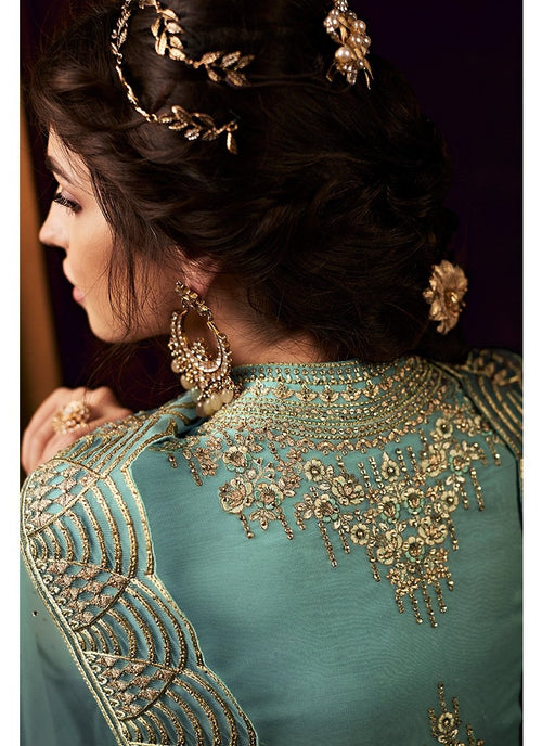 Turquoise Golden Embroidered Net Anarkali Suit
