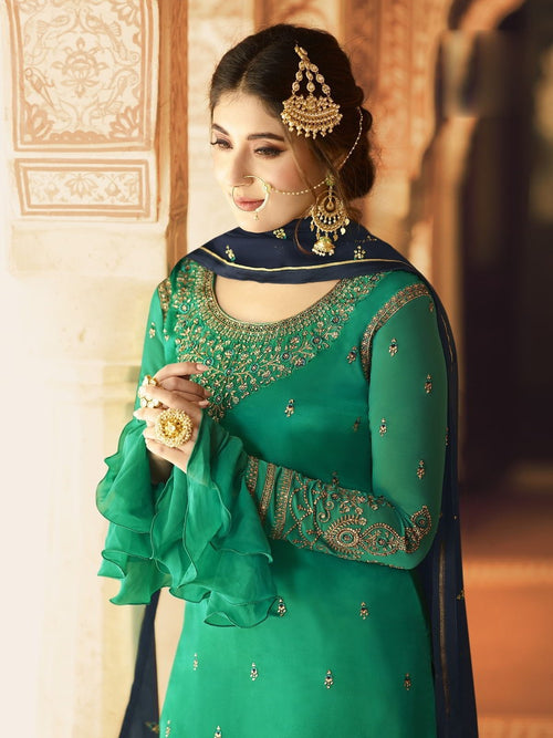 Turquoise Green And Blue Ethnic Embroidered Sharara Suit