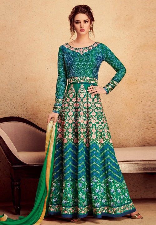 Turquoise Green Embroidered Silk Anarkali Suit