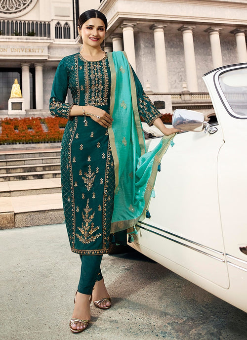 Turquoise Green Embroidered Pakistani Pant Suit