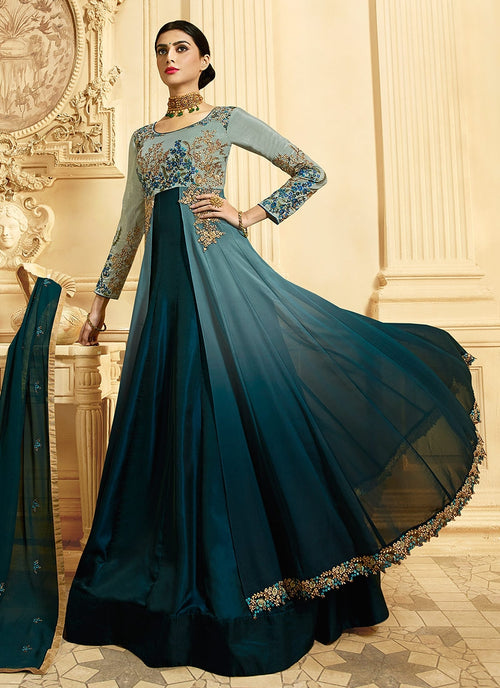 Turquoise Dual Shaded Slit Style Embroidered Anarkali Suit