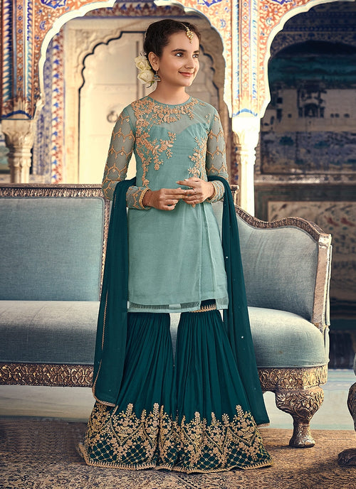 Turquoise Two Tone Embellished Gharara Suit
