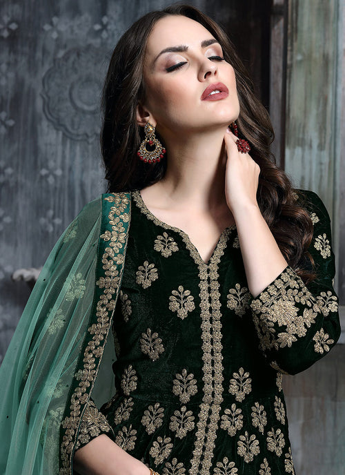 Dark Green And Golden Anarkali Lehenga Suit