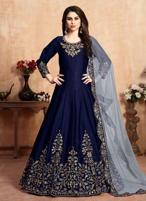 Indian Clothes - Blue Golden Embroidered Designer Silk Anarkali Suit