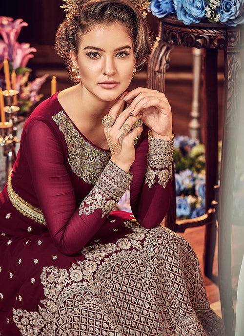 Wine All Embellished Ghera Kaliyaari Anarkali Suit