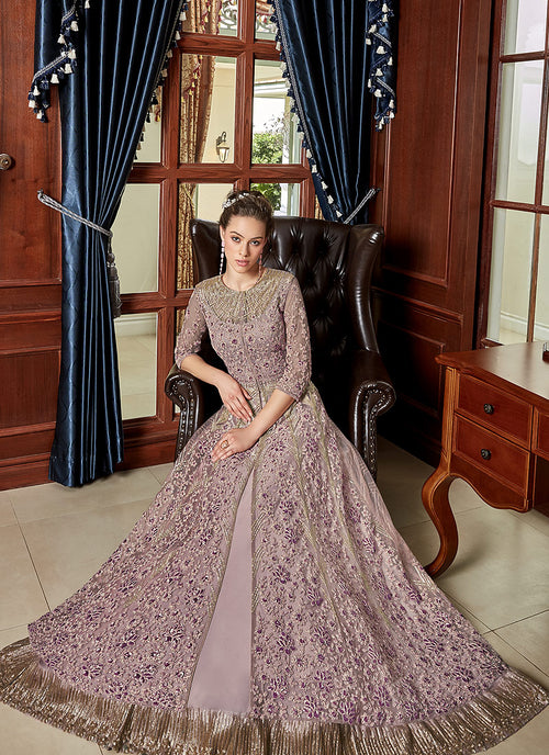 Blush Pink Embroidered Anarkali Lehenga Suit ,Salwar Kameez