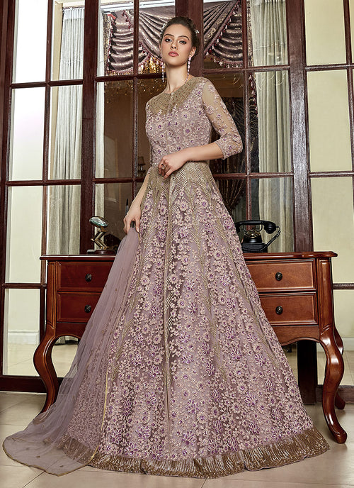 Indian Clothes - Blush Pink Embroidered Anarkali Lehenga Suit