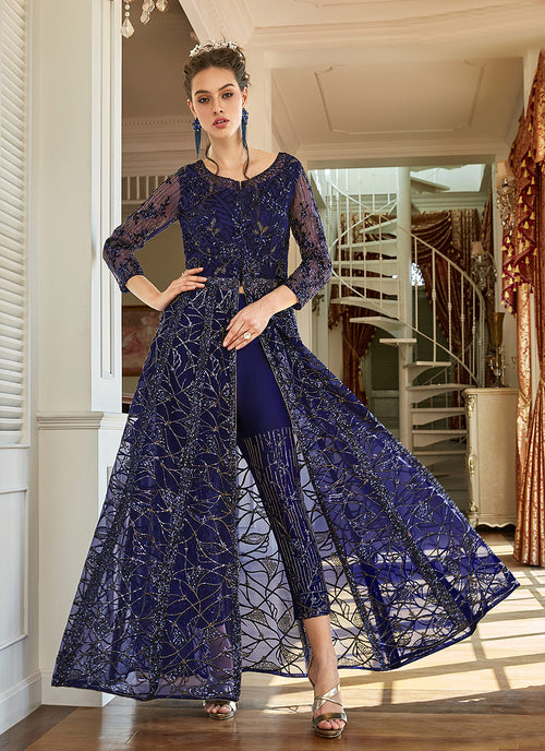 Indian Clothes - Navy Blue Zari Embroidered Anarkali Lehenga Suit