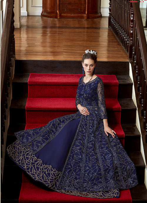 Indian Suits - Navy Blue Zari Embroidered Anarkali Lehenga Suit