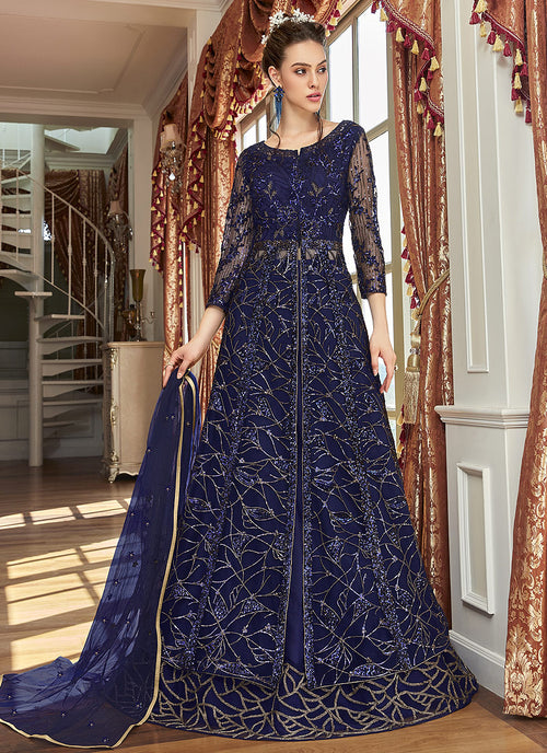 Navy Blue Zari Embroidered Anarkali Lehenga Suit