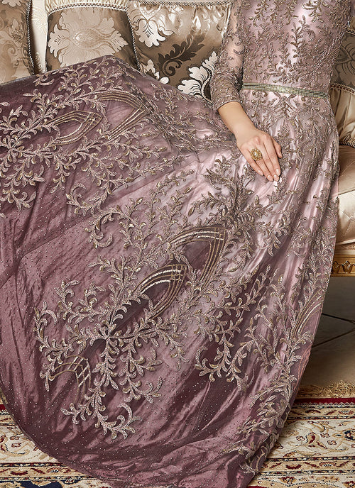 Pink And Mauve Embroidered Anarkali Gown, Salwar Kameez