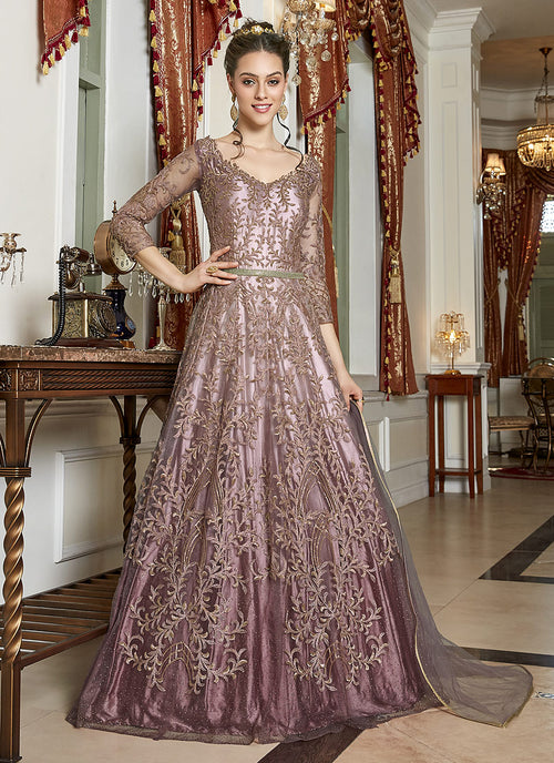 Indian Clothes - Pink And Mauve Embroidered Anarkali Gown