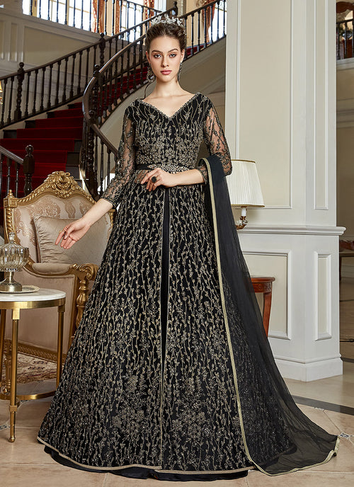 Indian Clothes - Black Zari Embroidered Anarkali Lehenga Suit
