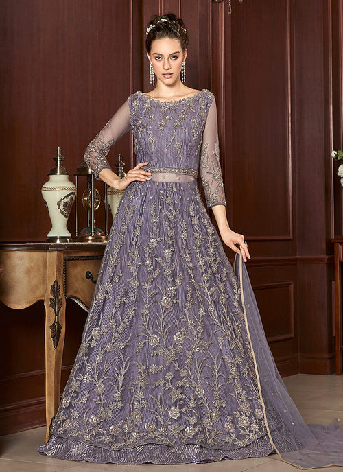 Indian Clothes- Lilac Purple Embroidered Anarkali Lehenga Suit
