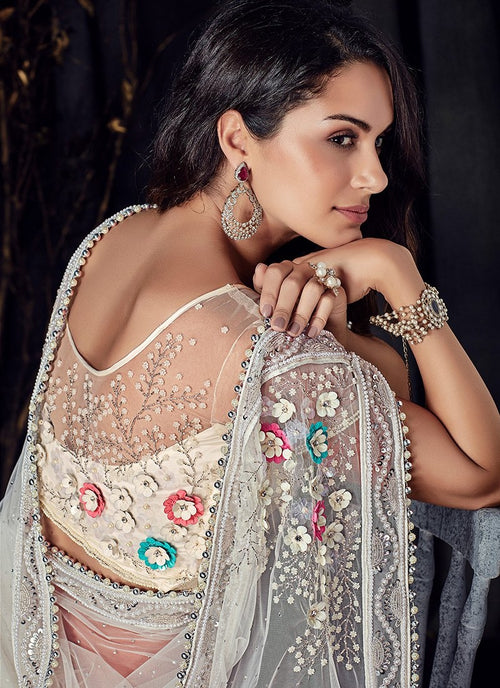 White Overall Floral Embroidered Designer Saree