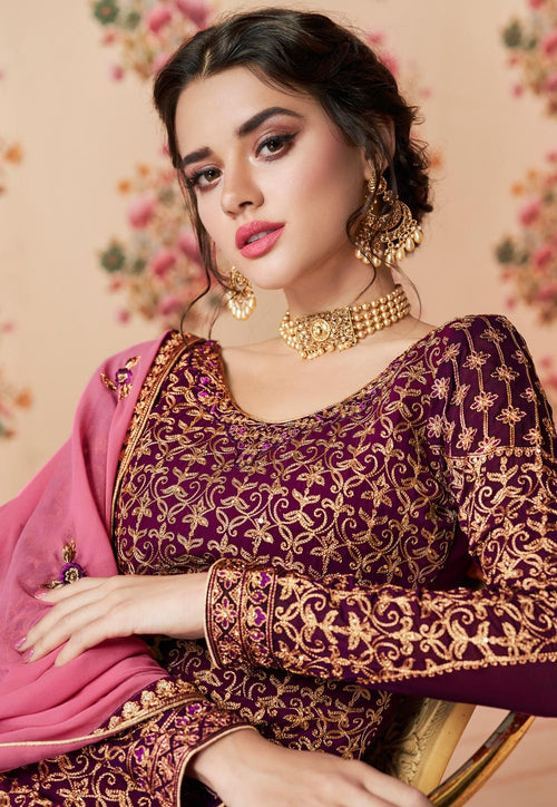 Wine And Pink Embroidered Gharara Palazzo Suit